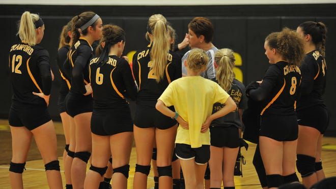 Colonel Crawford used a total team effort to beat the Lady Falcons in the first match of the season.