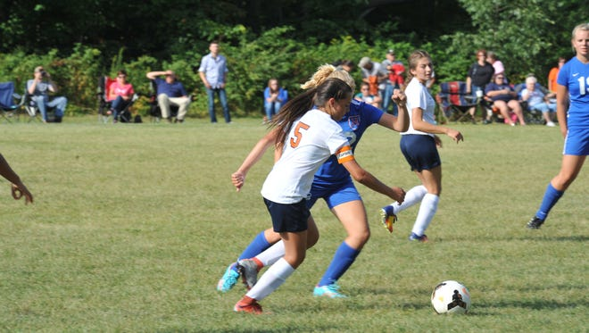 Katie McDonald played anywhere she was asked to against Highland and helped control the central part of the pitch for the Lady Tigers.