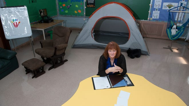 Dr. Linda Brown-Bartlett' is seen in her calming classroom, an oasis for kids struggling to cope with home and school stress at Yorkship Family School in Camden.