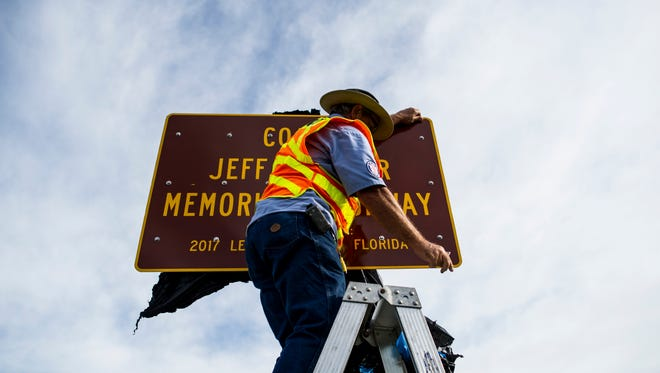 The sign designating part of US-41 as the Coach Jeff Sommer Highway was unveiled at a dedication ceremony on September 5, 2017. Coach Jeff Sommer was an Athletic Director and Cross Country coach at Estero High School and led them to 8 state championships before his unexpected death in 2015.
