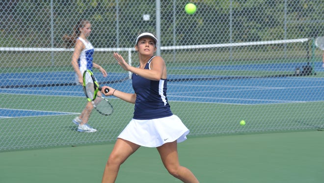 Galion's Kaylyn Gimble takes aim in the No. 1 singles championship match of the Sam Sabback Invitational.