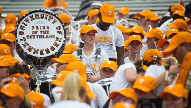 Pride of the Southland band members sit in the stands before the Tennessee Volunteers vs. Florida Gators game at Ben Hill Griffin Stadium in Gainesville, Florida Saturday, Sept. 16, 2017.