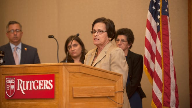 Assemblywoman Patricia Egan Jones, talking at Rutgers-Camden in 2017, said Thursday she won't seek reelection once her current term expires in January.