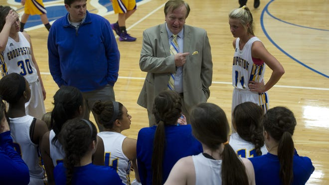 Goodpasture coach Joey Spann talks to his players during a game against Trousdale County at Goodpasture Thursday, January 9, 2014 in Nashville, Tenn.