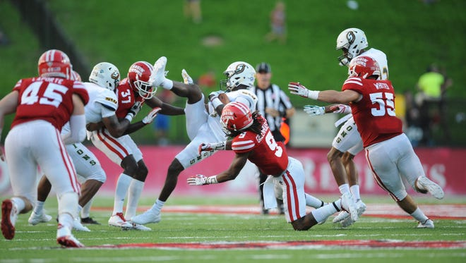 UL's Kamar Greenhouse (9) gets in on a tackle during a win over Southeastern Louisiana earlier this season.