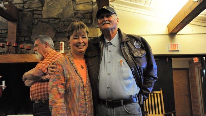 Don Collins and his wife Pam on Nov. 7, 2107, moments after Don was elected mayor of Black Mountain.