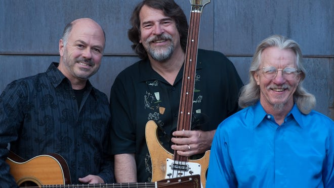 Triple Play, led by Chris Brubeck (center), son of jazz piano great Dave Brubeck, will perform at the Bickford Theatre at the Morris Museum tomorrow night.  With a repertoire that includes original arrangements of the older Brubeck's music, Triple Play features guitarist Joel Brown (left) and harmonica player Peter Madcat Ruth.