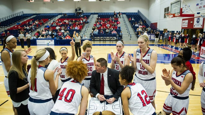 Rick Stein, talking to his team during a timeout against Wisconsin-Parkside last January, is entering his 20th season as USI women's basketball coach.