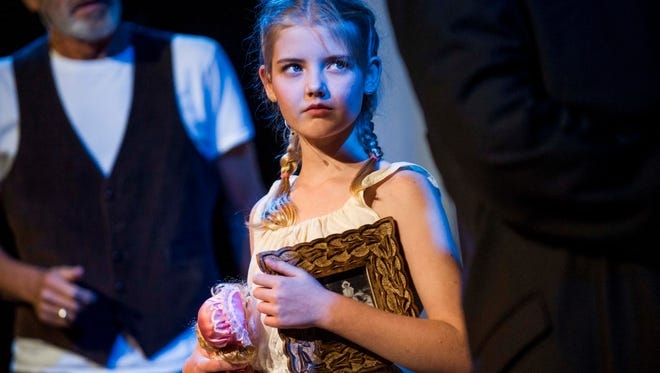 """Carly Barnes acts as Mary Lennox during a dress rehearsal for """"The Secret Garden"""" at Naples Community School on Monday, February 5, 2018."""