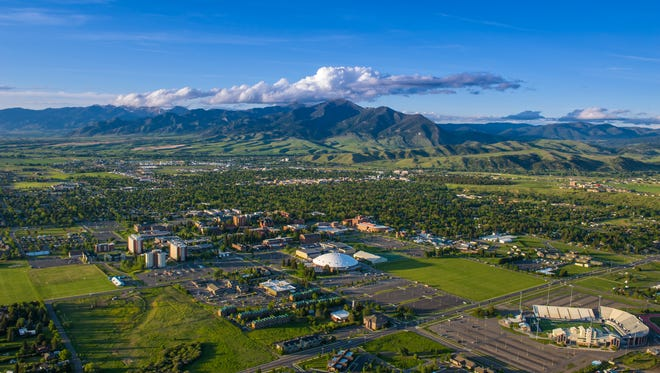An aerial view of Montana State University in Bozeman, June 11, 2014.
