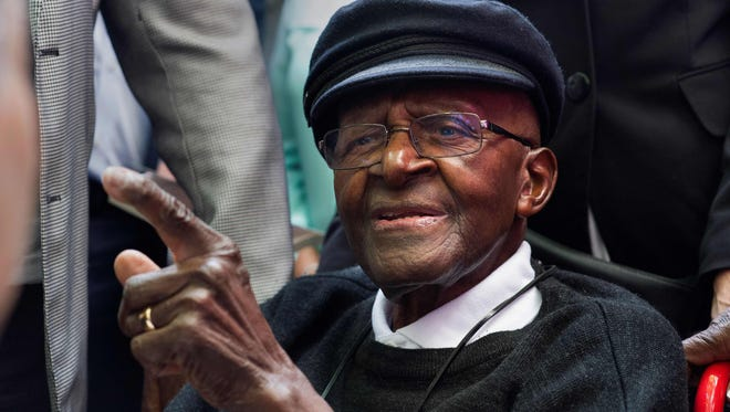 In this file photo taken on October 7, 2016 South African retired Anglican archbishop and anti-apartheid icon Desmond Tutu is pictured during a tea party held to mark his 85th birthday in Cape Town.