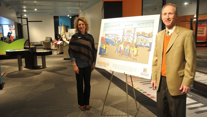 The Washington Pavilion announced Friday plans and concepts for the new exhibit Health Quest by Sanford. Sanford Health director of public affairs Stacy Wrightsman and Washington Pavilion president Darrin Smith pose in the Kirby Science Discovery Center.