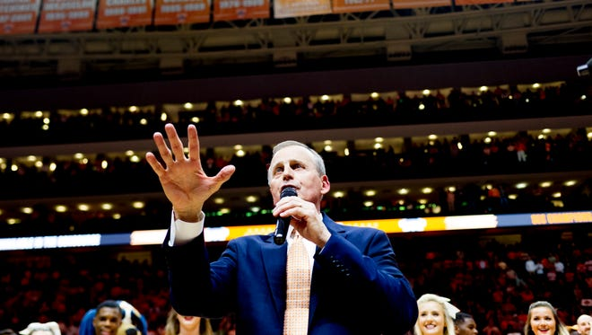 Tennessee Head Coach Rick Barnes speaks after defeating Georgia 66-61 at Thompson-Boling Arena in Knoxville, Tennessee on Saturday, March 3, 2018.
