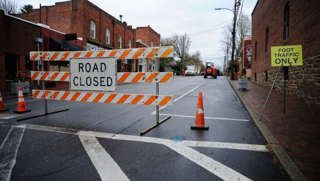 The Metropolitan Sewerage District of Buncombe County closed Cherry Street to vehicular traffic April 9 to allow crews to replace sewer lines under the road.