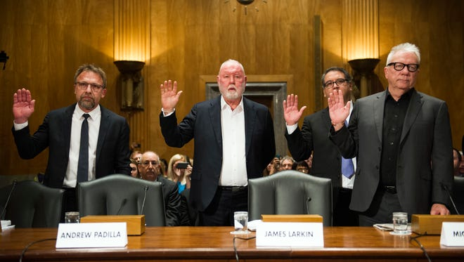 In this Jan. 10, 2017, photo,   Backpage.com CEO Carl Ferrer (from left), former owner James Larkin, COO Andrew Padilla, and former owner Michael Lacey, are sworn in on Capitol Hill in Washington, prior to testifying before the Senate Homeland Security and Governmental Affairs subcommittee hearing into Backpage.com's alleged facilitation of online sex trafficking.