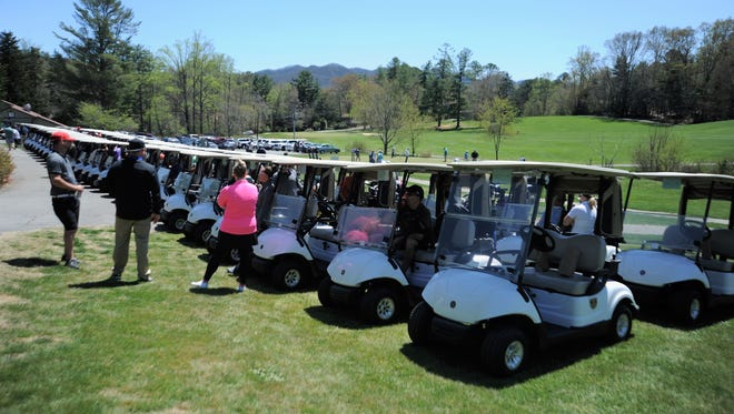 More than 100 golfers teed off for the Britten Strong Golf Tournament at Black Mountain Golf Course in 2018. The event, which benefits the Montreat College track and field coach who was seriously injured in 2017, will return on Oct. 11.