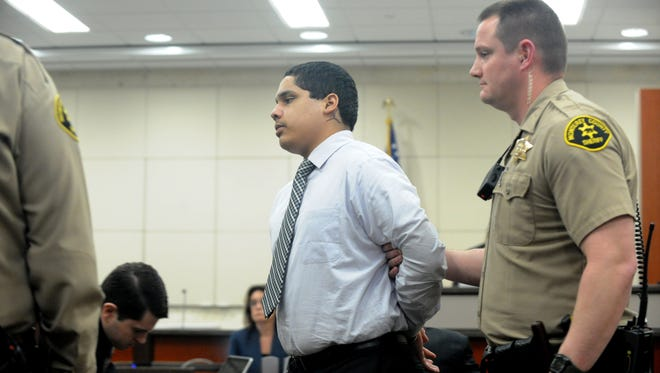 Monterey County deputies lead away Gonzalo Curiel after a guilty verdict is delivered in his child murder, torture trial Monday.