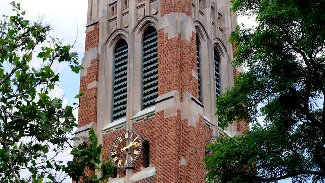 Michigan State University's Beaumont Tower on campus in East Lansing.