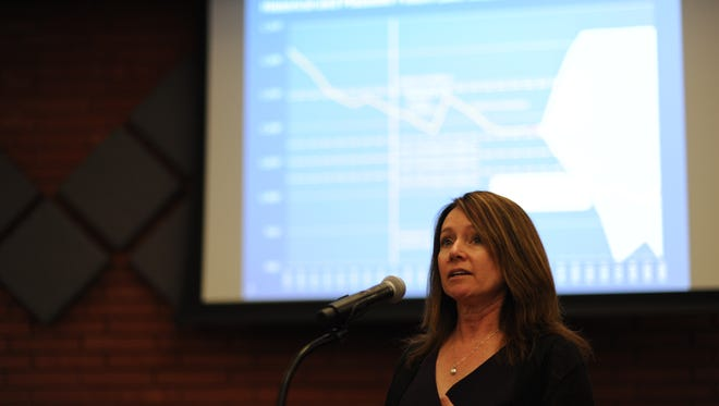 "Brenda Burman, commissioner of the federal Bureau of Reclamation, speaks to the Imperial Irrigation District board on Tuesday, May 22, 2018. She said there is significant risk of a severe shortage at Lake Mead, and ""the time for action is now."""