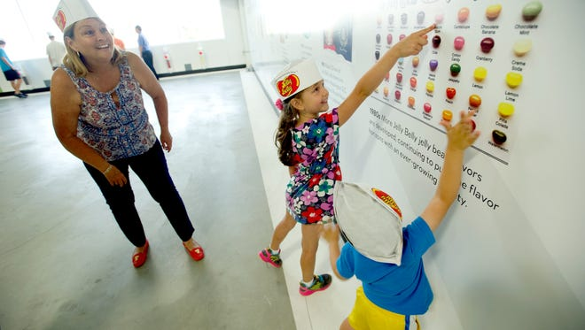 Children wait in line for the Jelly Belly warehouse tour in 2018.