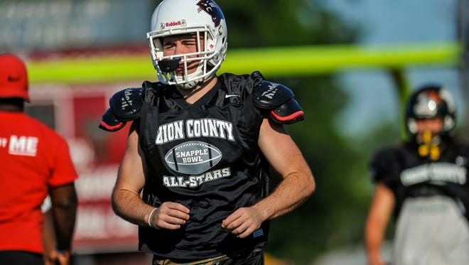 Linebacker Devin Hilburn of Roselle Park practices with the Union County All-Star football team in preparation of MyCentralJersey.com Snapple Bowl XXV at Union High School on July 9, 2018.