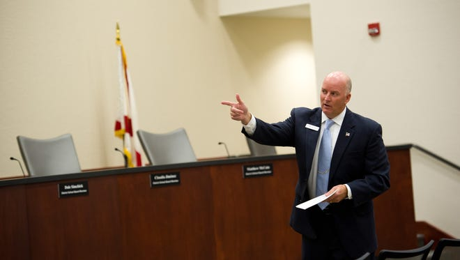 The Indian River County School Board could decide later this month to end the contract of Schools Superintendent Mark Rendell, shown here in 2016.