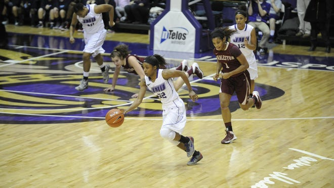 James Madison?s Angela Mickens heads up court against the College of Charleston on Jan. 31.  Courtesy JMU Sports Photography 2014 WBB vs College of Charleston