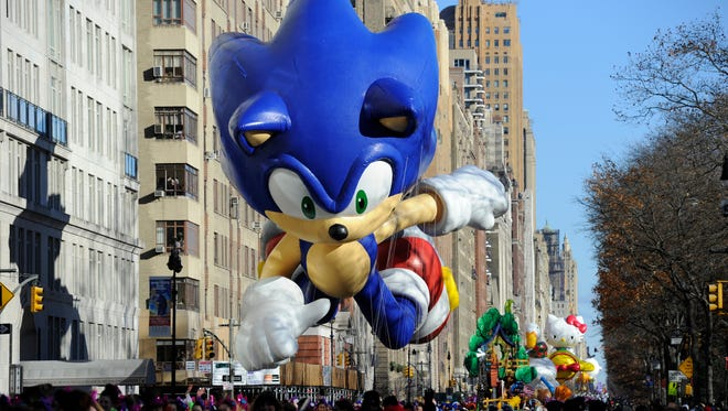 Sonic the Hedgehog passes by during the Macy's Day Parade in 2013.