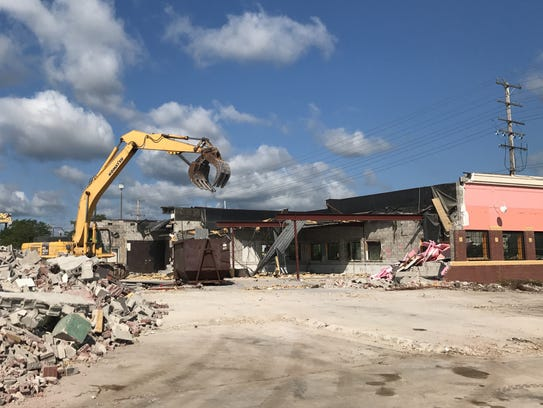 The Great Grill, mid tear down, in Grand Chute.
