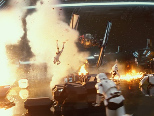 A TIE Fighter explosively escapes a First Order Star