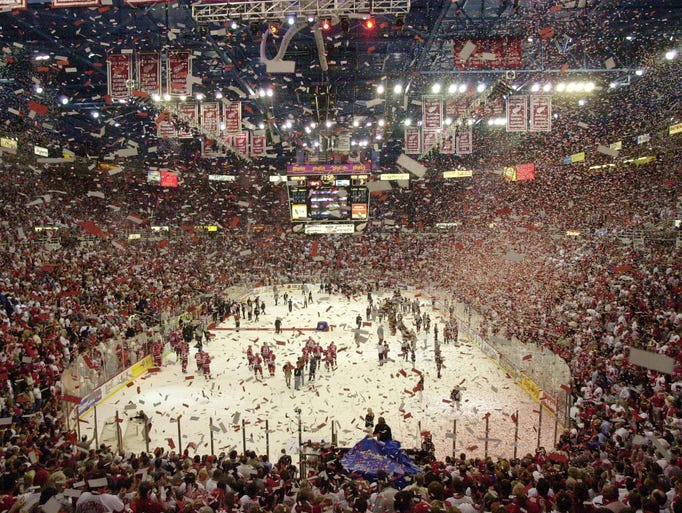 Confetti falls from the rafters as the celebration