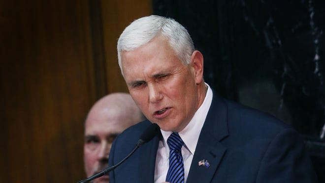 """Indiana Gov. Mike Pence discussed religious freedom legislation on March 29  on ABC's """"This Week"""" with George Stephanopoulos."""