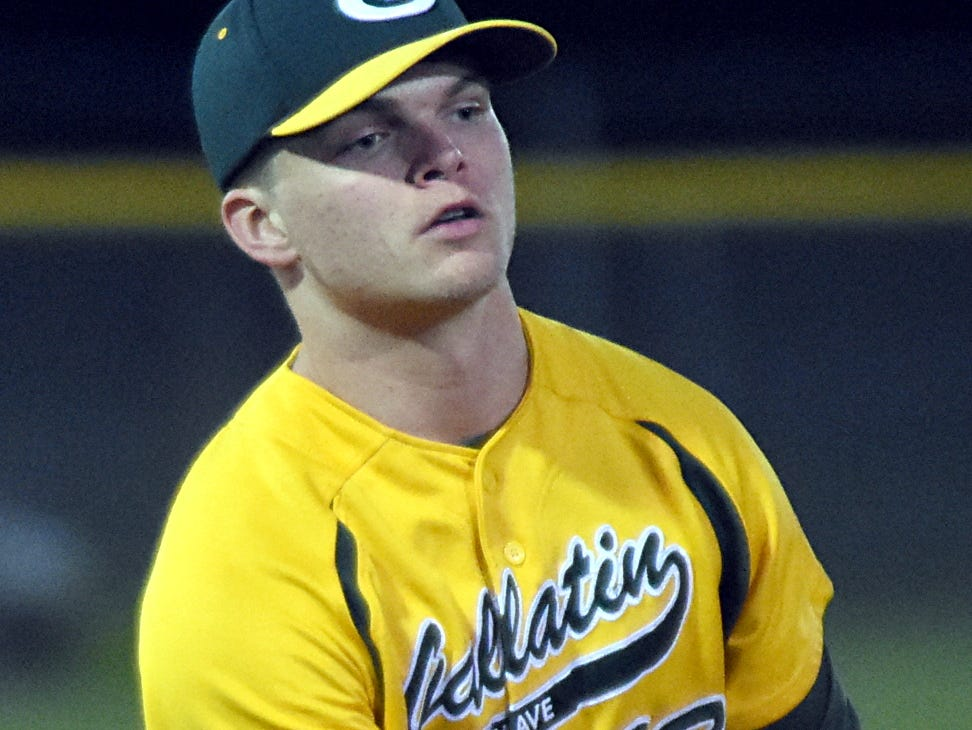 Gallatin High senior pitcher James Rockwell flips to first base for a second-inning putout.