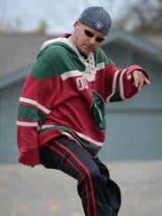 "Inline skater James ""Jimmy"" Hofmann skates near his"
