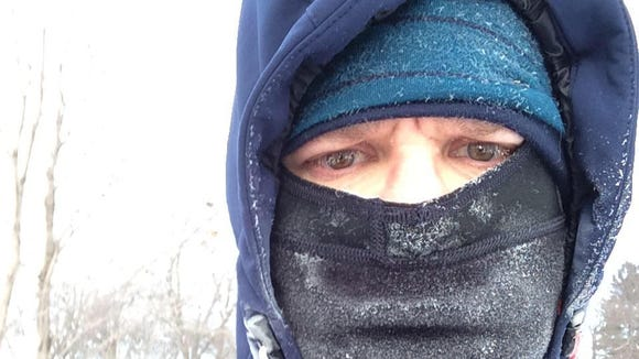 Frozen eyelashes, check. Iced up balaclava, check. Vacant look of pain and despair, check. It's sub-zero running.