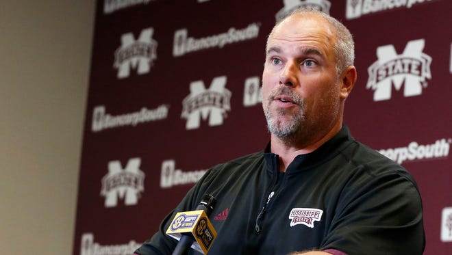 Mississippi State co-offensive coordinator John Hevesy speaks during a recent press conference.
