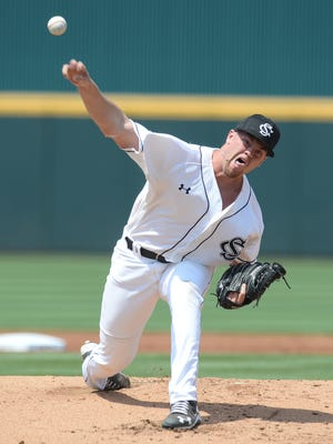 South Carolina pitcher Braden Webb delivers a pitch against Oklahoma State during the Columbia Super Regional.