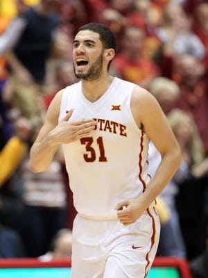 Iowa State Cyclones forward Georges Niang (31) reacts against the Oklahoma Sooners during the second half at James H. Hilton Coliseum. Iowa State beat Oklahoma 77-70.