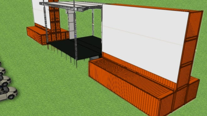 A rendering of what the Yarmouth Drive-In on Cape Cod will look like when set up by this weekend, including giant movie screens and a stage.