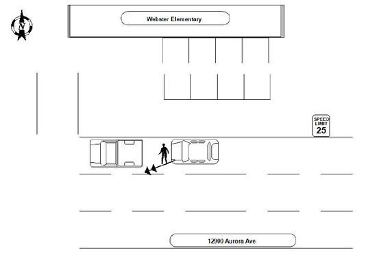 Diagram of an April 12 incident where a driver hit