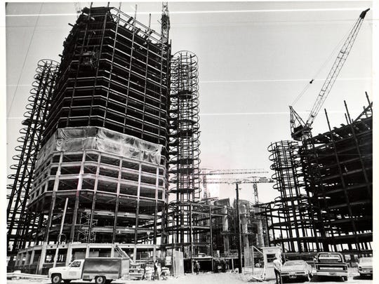 In 1975, the Renaissance Center was well on its way to completion.
