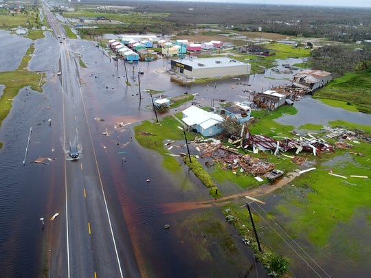 Aerial footage from Aransas County along the Texas