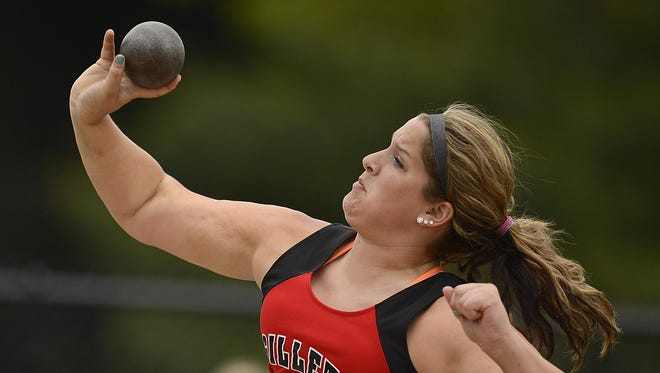 Gillett's Taylor Kohls competes in the Division 3 shot put during Friday's WIAA state track and field meet at Veterans Memorial Stadium Complex in La Crosse.