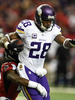 Adrian Peterson topped 100 yards rushing for the sixth time this season.