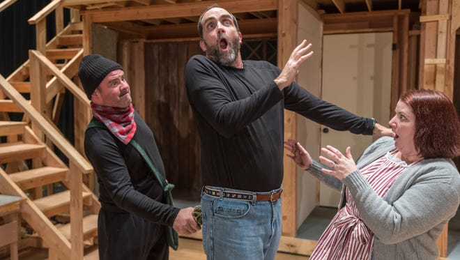 """Encore Theatre members Matt Weaver, left, Joe Harding and Shauna Dolin rehearse """"Noises Off"""" on Tuesday, January 2, 2018 at the Tulare Community Auditorium for a special joint fundraising event of the Encore Theatre Company and the Tulare Joint Union High School District Foundation."""