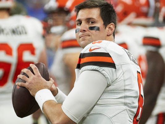 FILE - In this Nov. 12, 2017, file photo, Cleveland Browns quarterback Cody Kessler (6) throws on the sideline during an NFL football game against the Detroit Lions, in Detroit. The Browns have traded former starting quarterback Cody Kessler to the Jacksonville Jaguars. Cleveland will get back a conditional seventh-round pick in 2019 in exchange for Kessler, who started eight games as a rookie in 2016 but has been sliding down Cleveland's depth chart. (AP Photo/Rick Osentoski, File)