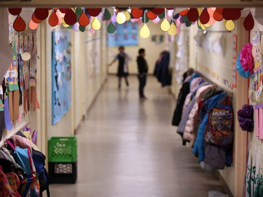The main hallway at The Ocean Academy Charter School in Lakewood looks like any other elementary school. The school just opened in September. They teach about 160 kids in K-2nd grade. Lakewood, New Jersey. Monday, April 16, 2018. David Gard