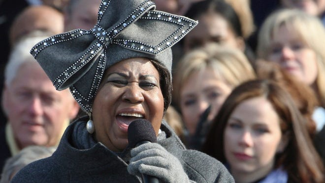 Aretha Franklin, wearing the hat that became an internet sensation, performs at the swearing-in ceremony of President Barack Obama at the U.S. Capitol in Washington, Jan. 20, 2009.  The pride of Detroit and the Queen of Soul, her amazing voice entertained the world for decades.