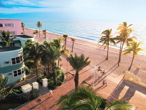 Upgrades to the Hollywood Beach Broadwalk include bicycling lanes and a crushed-shell jogging path. Hotels, pizza parlors, cafes and restaurants line the route and there are free outdoor concerts several nights a week.
