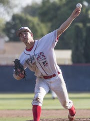 Tulare Western's Wyatt Gilbert pitches against Tulare Union in a East Yosemite high school baseball game on Thursday, May 11, 2017.